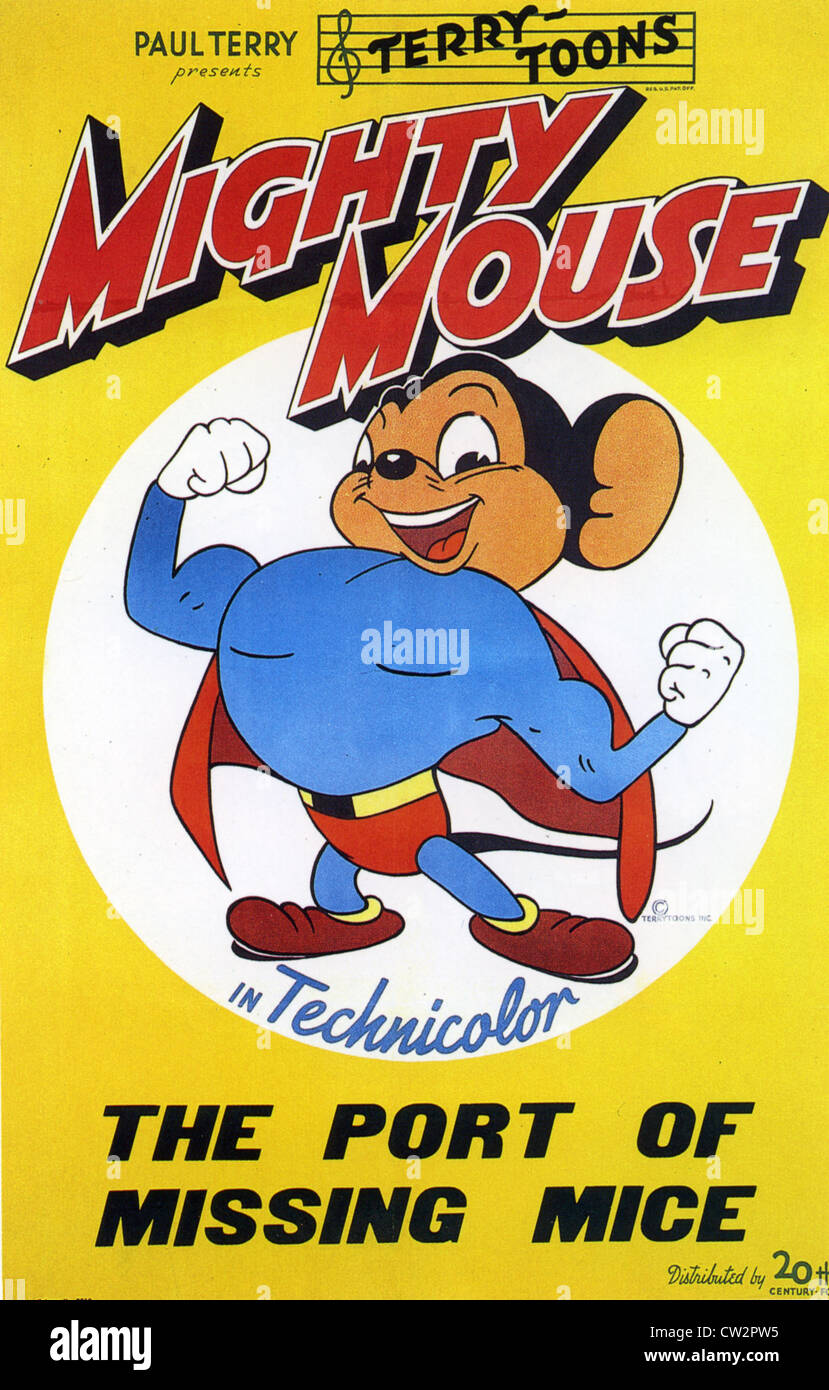 MIGHTY MOUSE 1945 Plakat für Terry-Toons Cartoon von TCF verteilt Stockbild