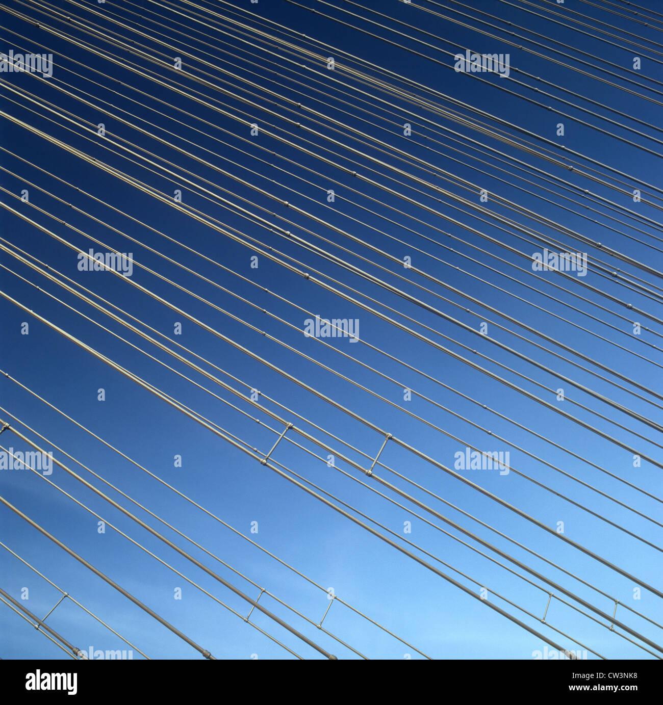 Kabel der Hängebrücke. Stockbild