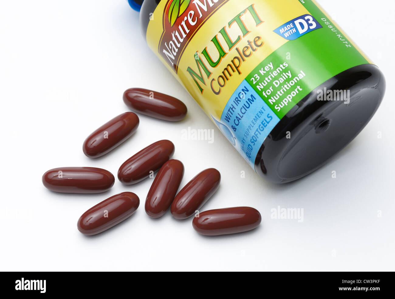 Multi-Vitamin-Ergänzungen Stockbild