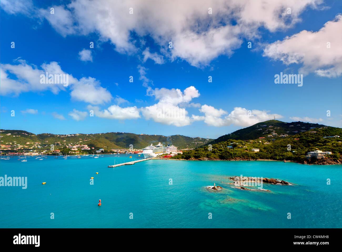 Küste von Charlotte Amalie auf St. Thomas, Amerikanische Jungferninseln. Stockbild