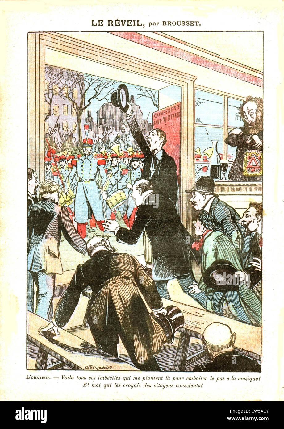 """Anti-Freimaurer und Anti-pazifistischen Karikatur im """"Le Pèlerin"""" Stockbild"""