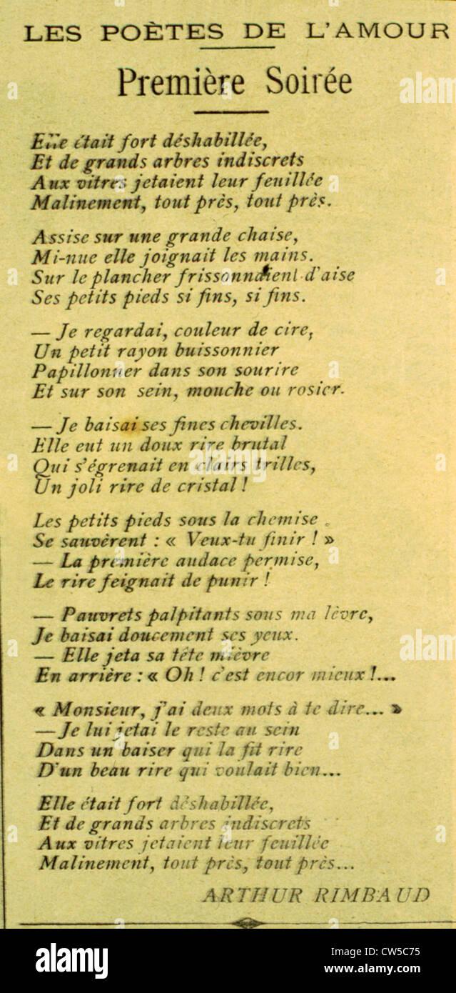 "Gedicht: ""Première Soirée"" von Arthur Rimbaud Stockbild"
