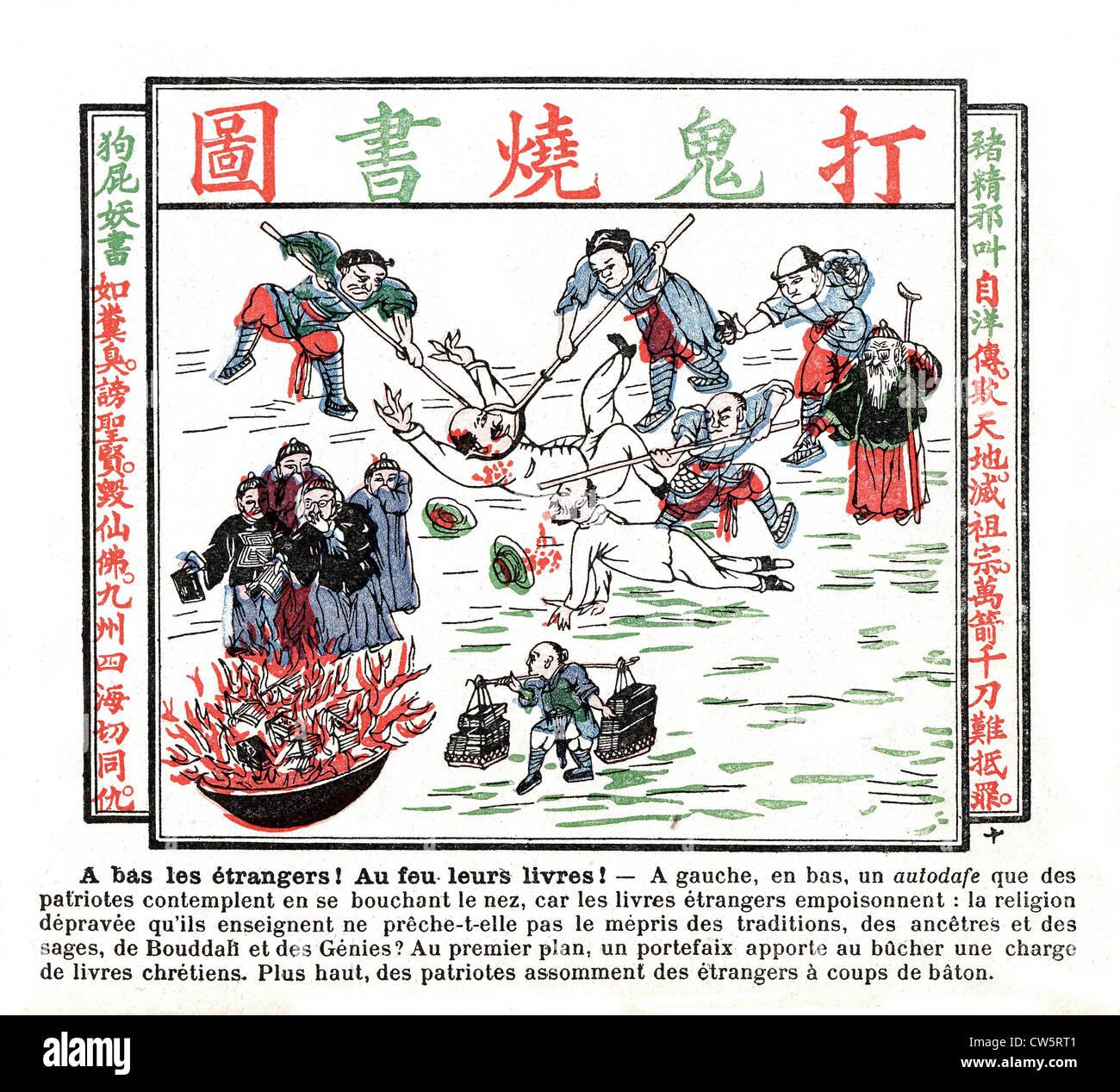 Popular druckt Album Krieg gegen Ausländer und Katholiken befürworten. 1891 Stockbild
