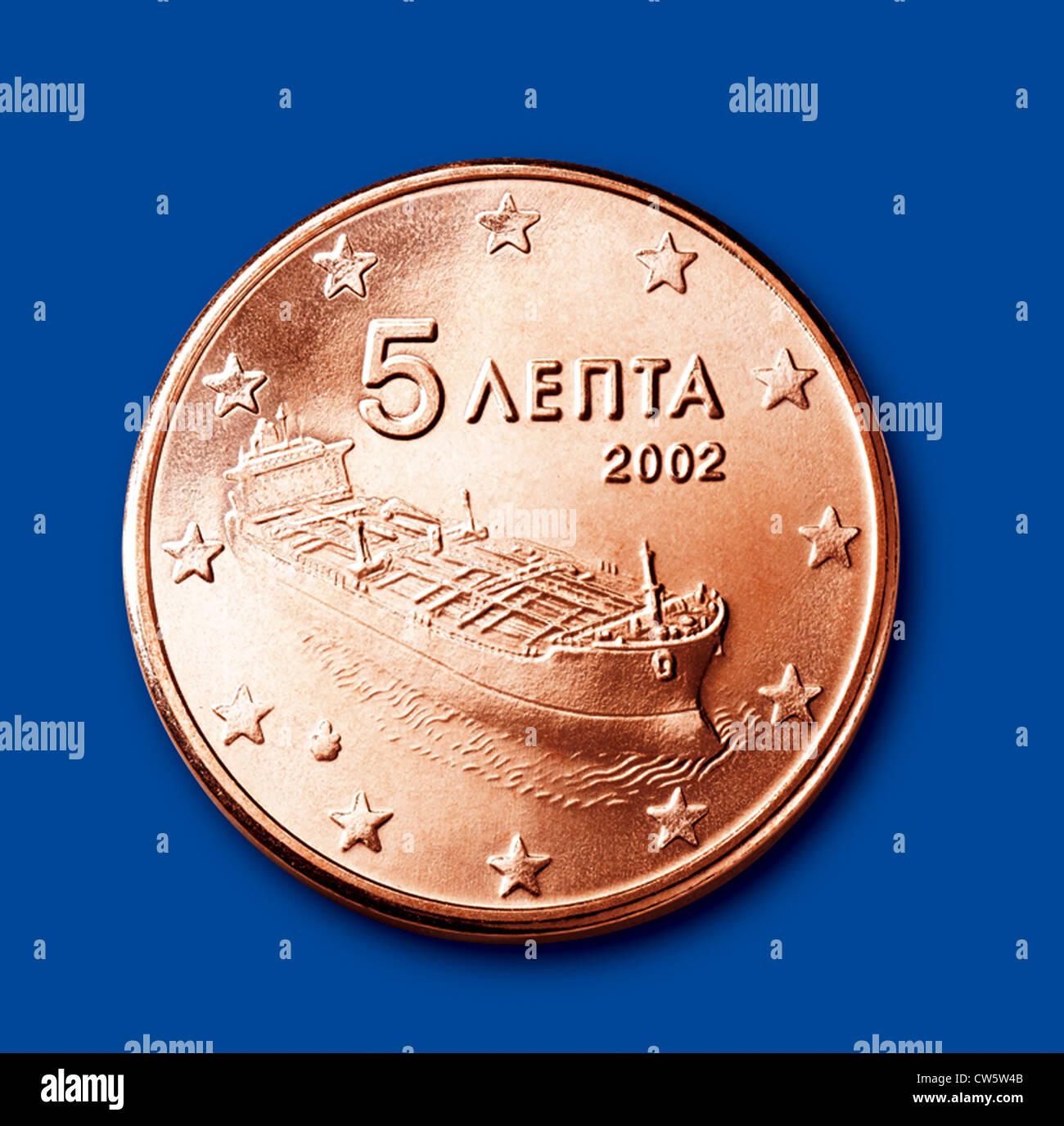 Münzen Von 5 Cent Griechenland Stockfoto Bild 49916619 Alamy
