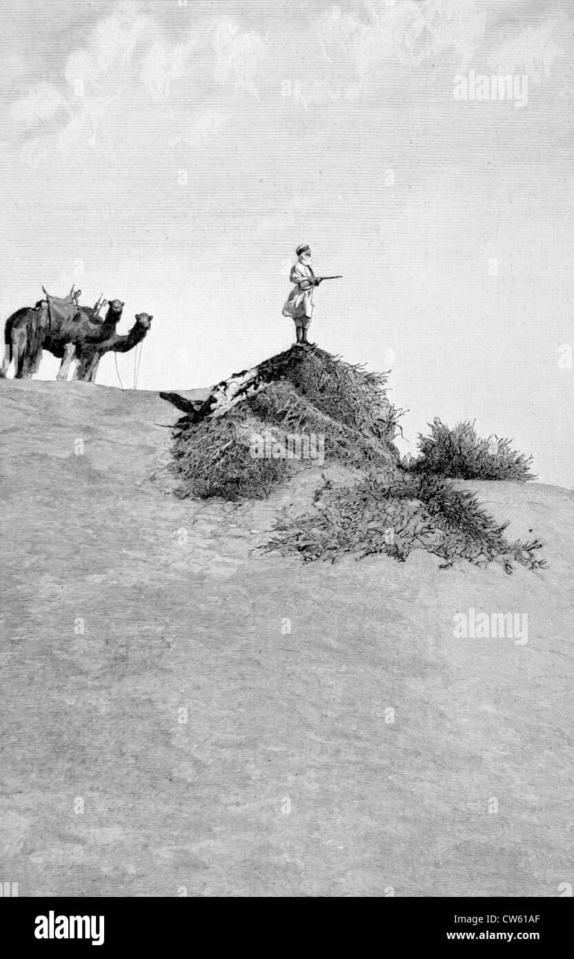 Eroberung der Sahara. Foureau-Lamy Mission in der Wüste (1900) Stockbild