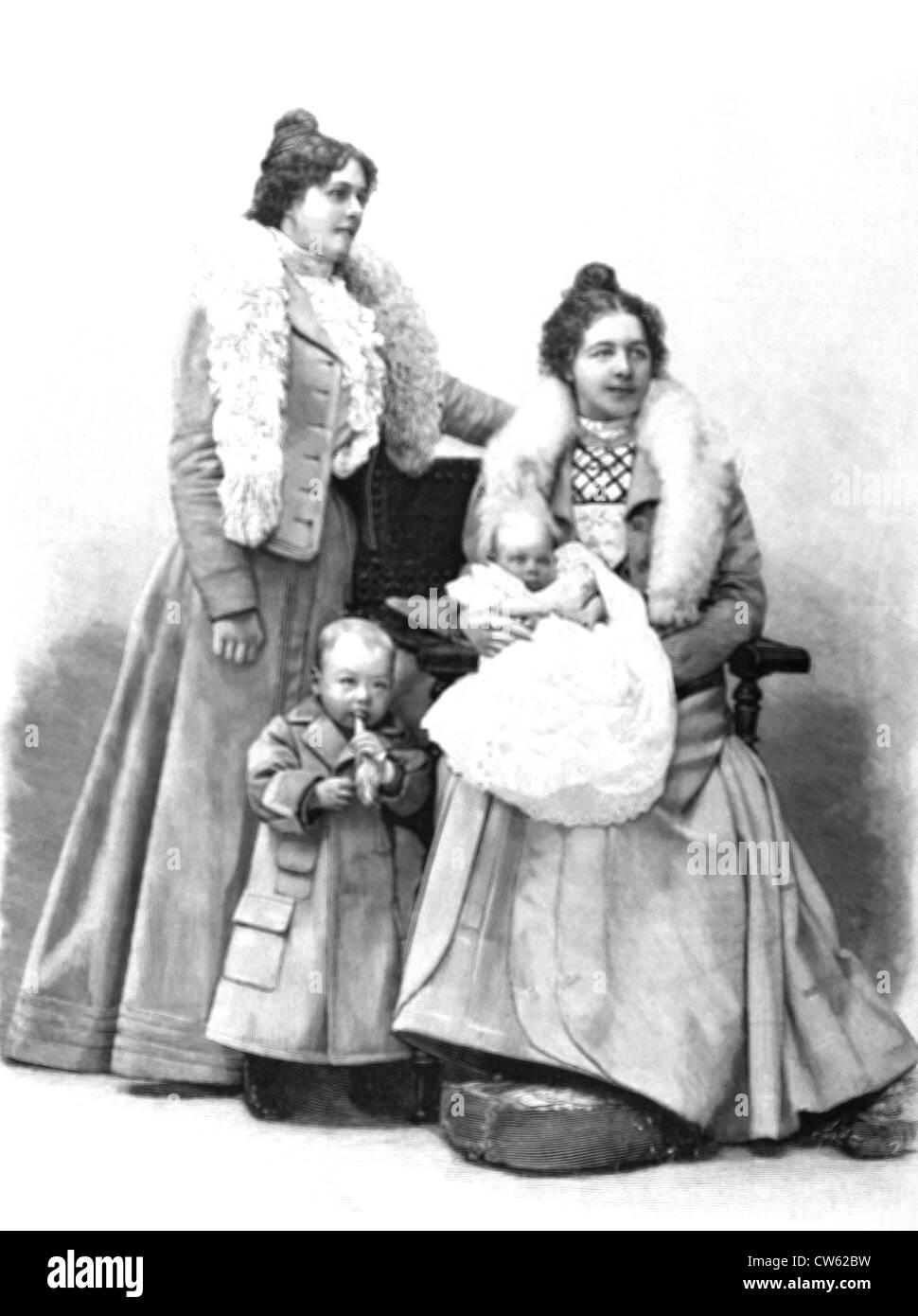 Burenkrieg. Porträts von Präsident Krüger Enkelinnen und Grand-Enkel, im Jahr 1900. Stockbild