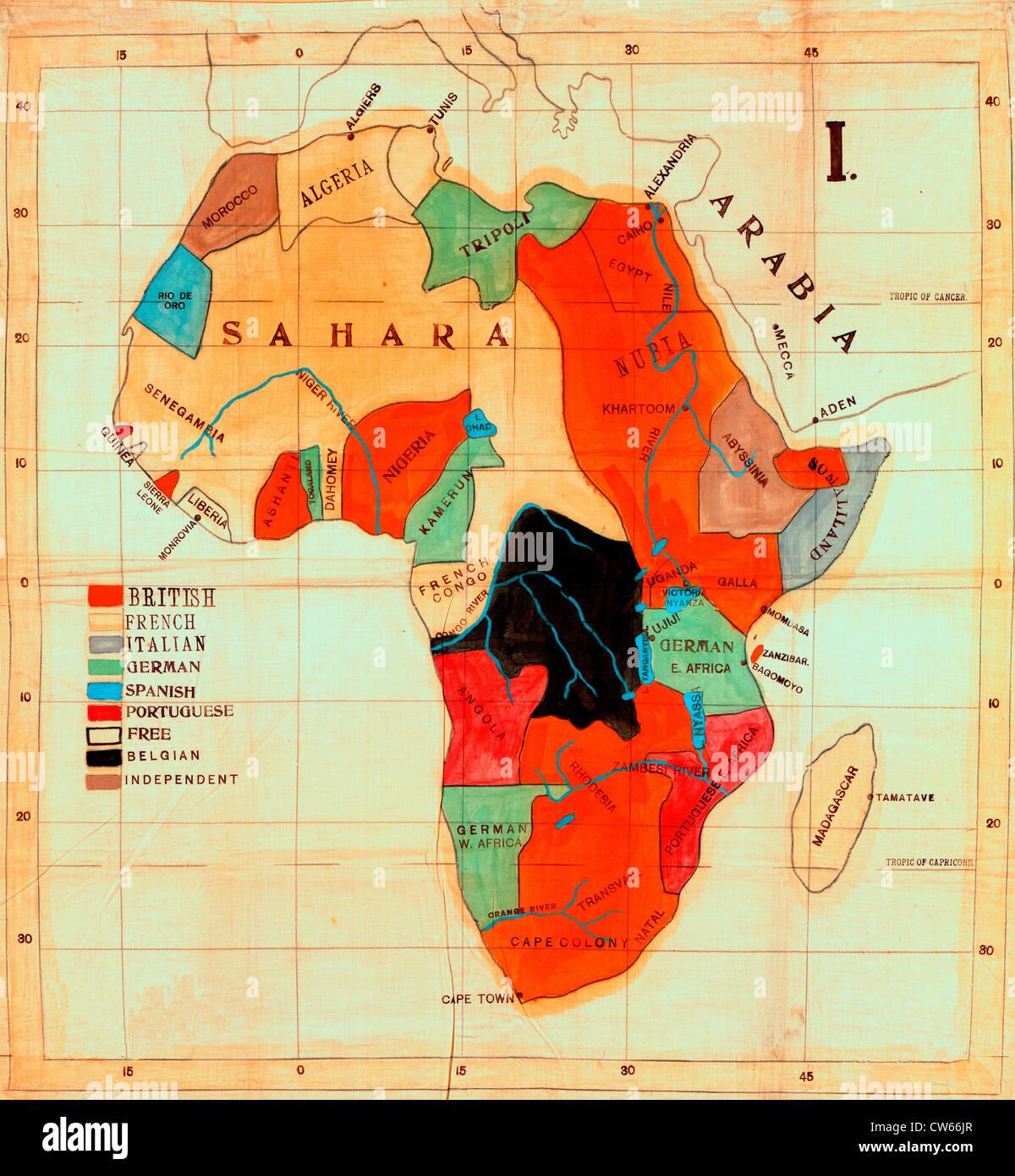 Karte Afrika Kolonien.Karte Von Afrika Zeigt Europaische Kolonien Und Unabhangigen