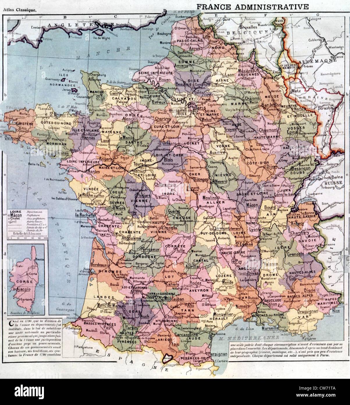 Frankreich Departements Karte.Karte Von Frankreich Des Départements Amputée De L Alsace Et De La