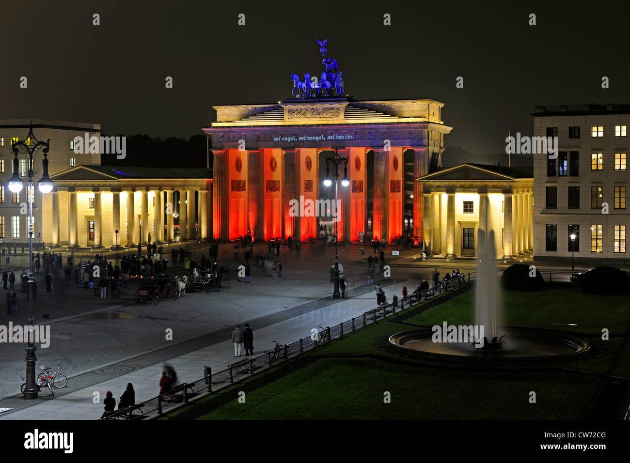 Brandenburger Tor, Brandeburger Tor bei Paris Platz, Pariser Platz, Deutschland, Berlin Stockfoto