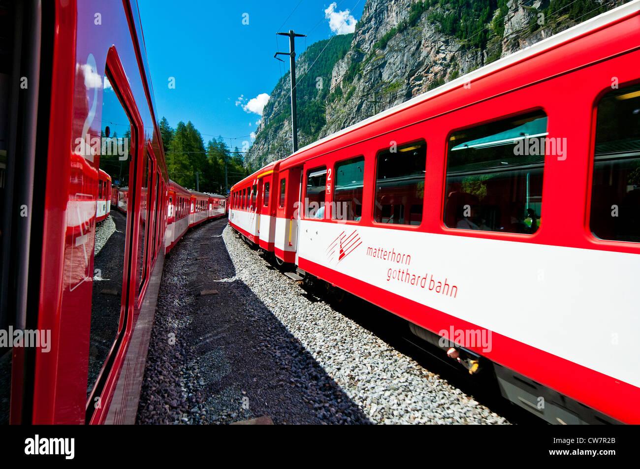 Matterhorn Gotthard Bahn Zug nach Zermatt, Wallis, Wallis, Schweiz Stockbild