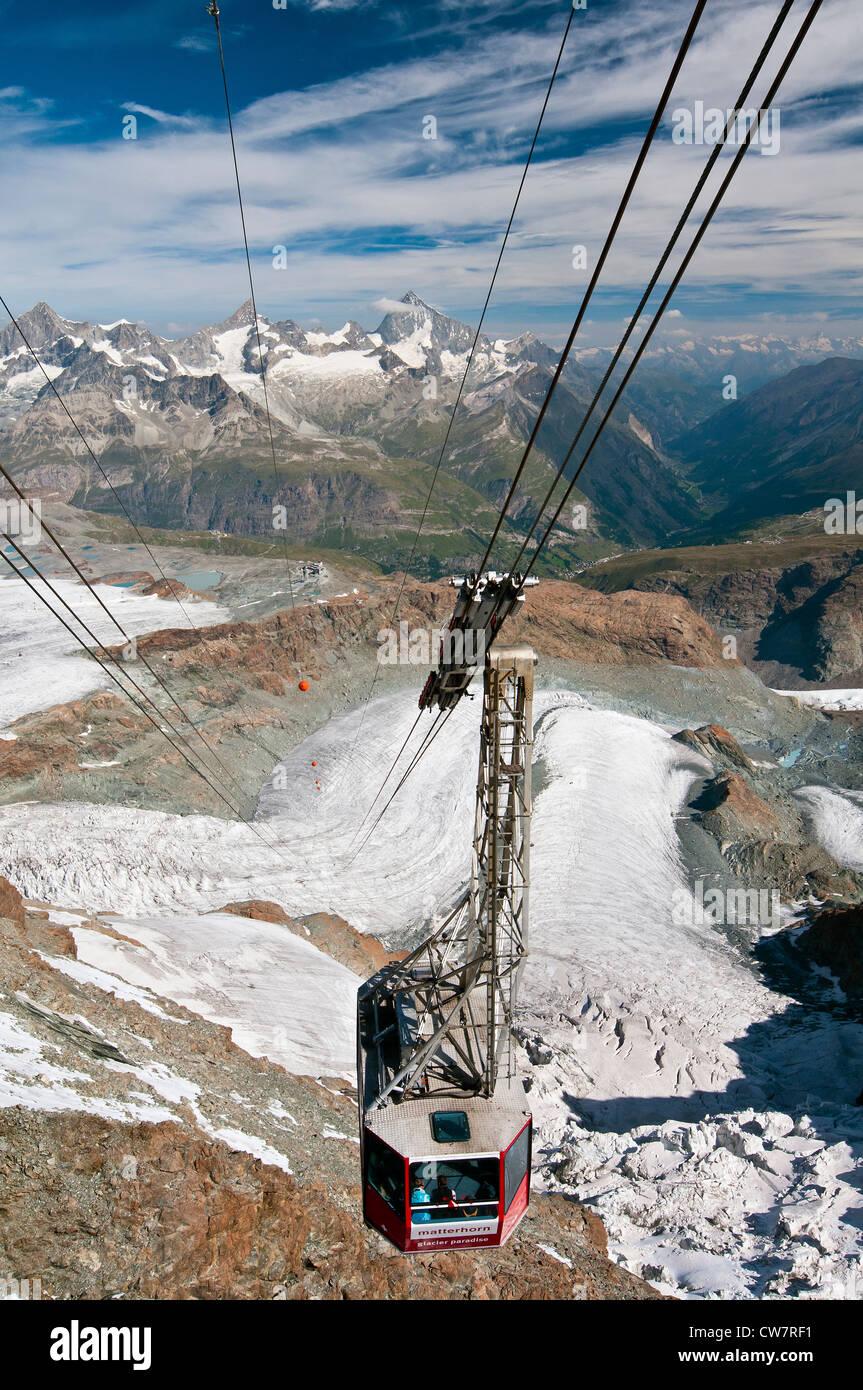 Panoramablick vom Gipfel des Klein Matterhorn, Zermatt, Wallis, Schweiz Stockbild