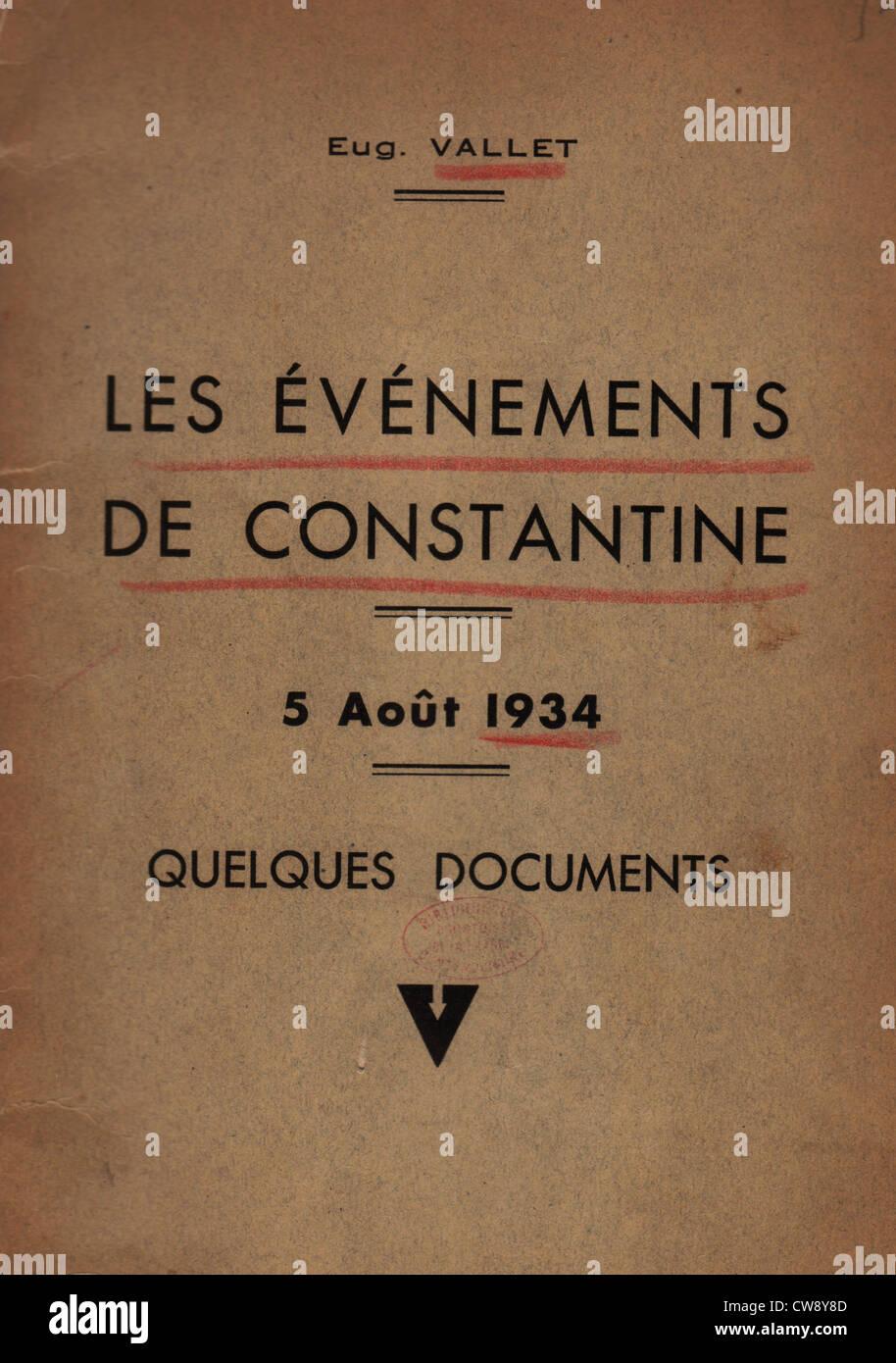 """Broschüre Eugène Vallet: """"die Ereignisse Constantine"""" Stockbild"""