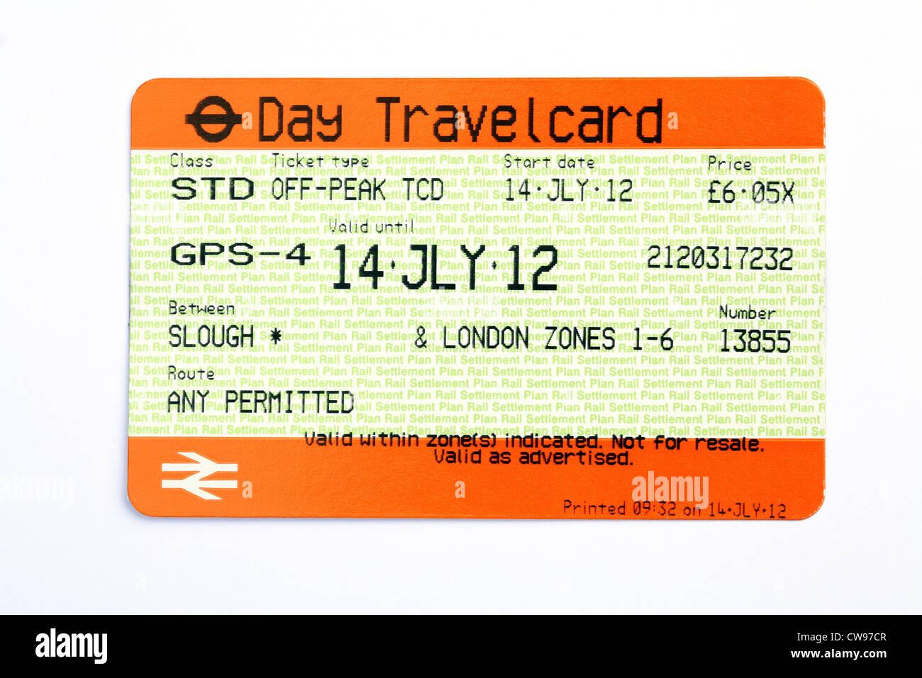 Ein Off Peak Tag Travel Card Zugticket für die Strecke zwischen Slough und London, Juli 2012, England, UK Stockbild