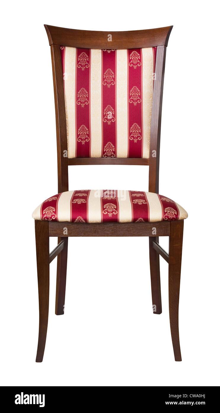 Klassiker Aus Holz Gepolstert Stuhl Isoliert Auf Weiss Stockfotografie Alamy