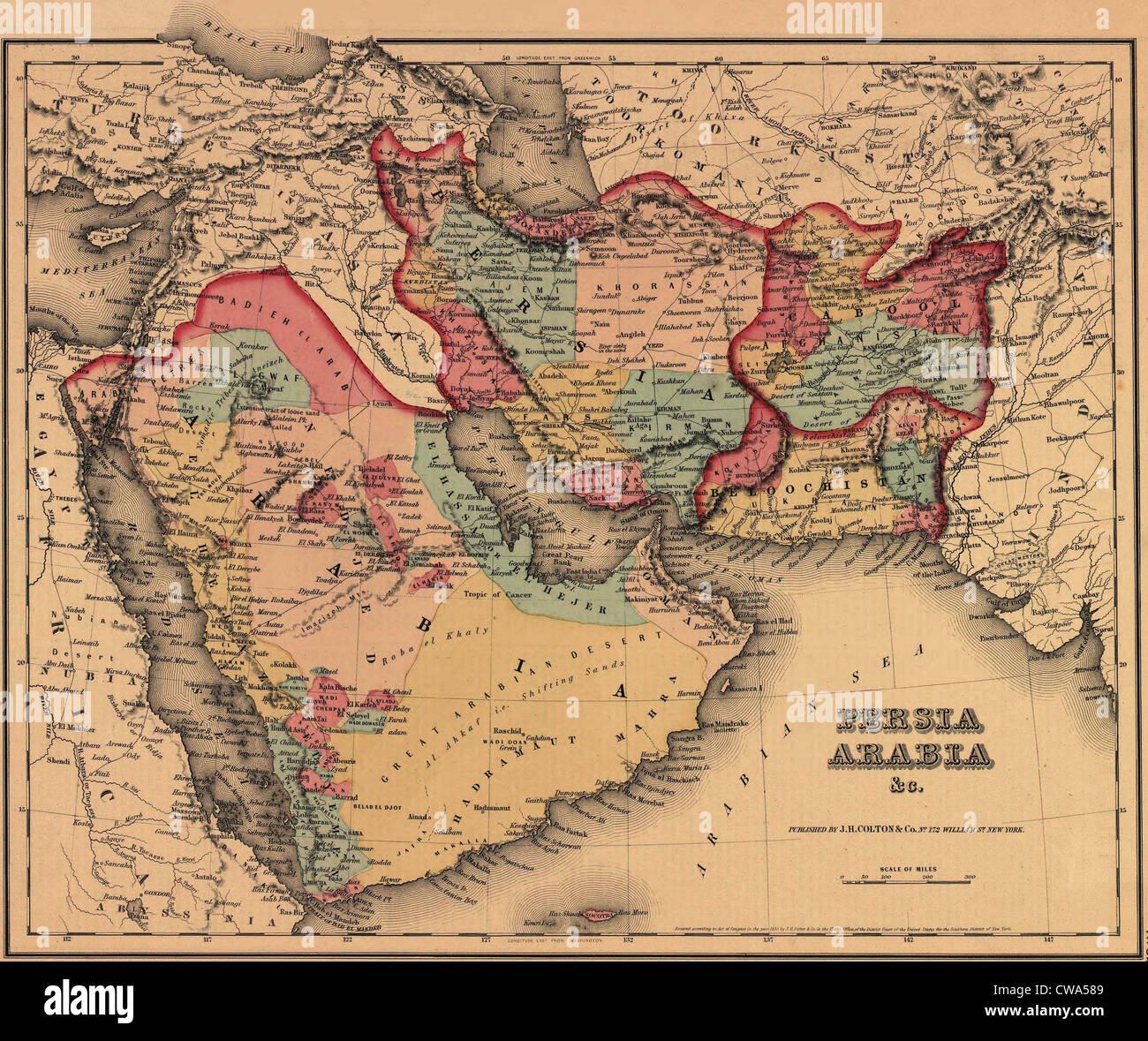 1855-Karte zeigt deutlich die politische und kulturelle Geographie des Nahen Ostens. Die osmanischen und persischen Stockbild