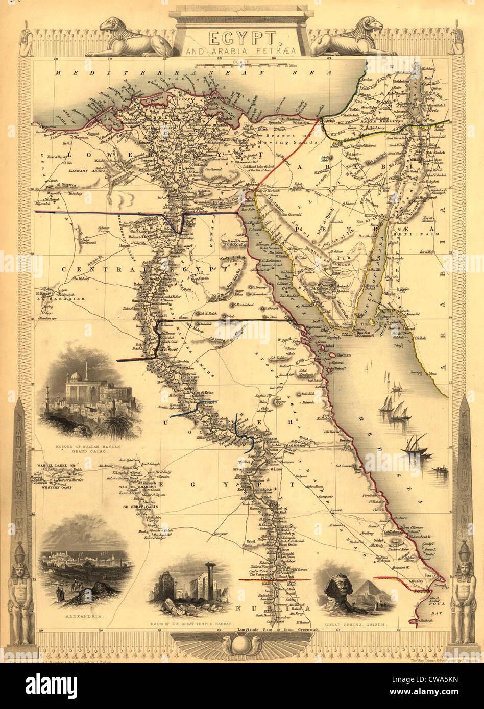 1851 Karte Von Agypten Mit Gravuren Von Kairo Alexandria Tempel