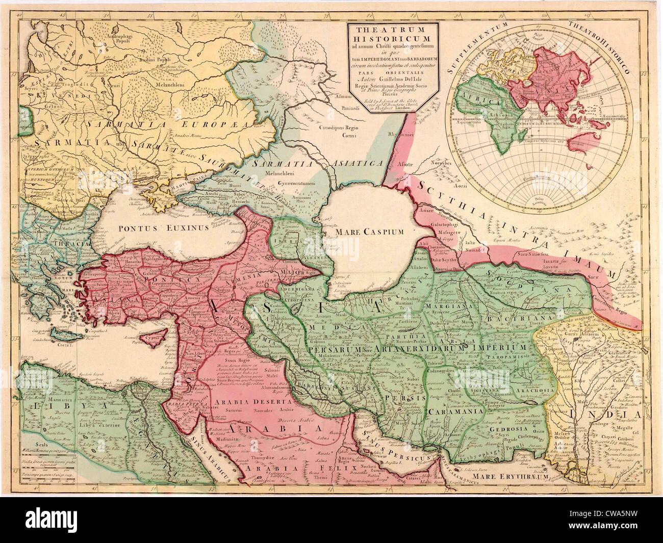 1712 französische Karte von Südwest-Asien und Südosteuropa Neuerstellung der Geographie des späten Stockbild