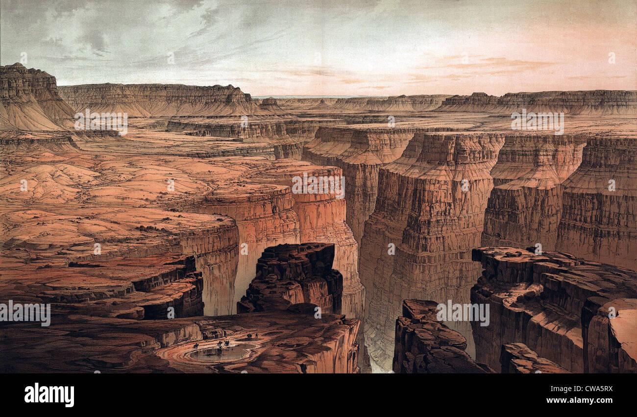 1882-Blick auf den Grand Canyon aus einer US-Regierung-Atlas. US-Regierung geförderte Exploration der Geographie, Stockbild