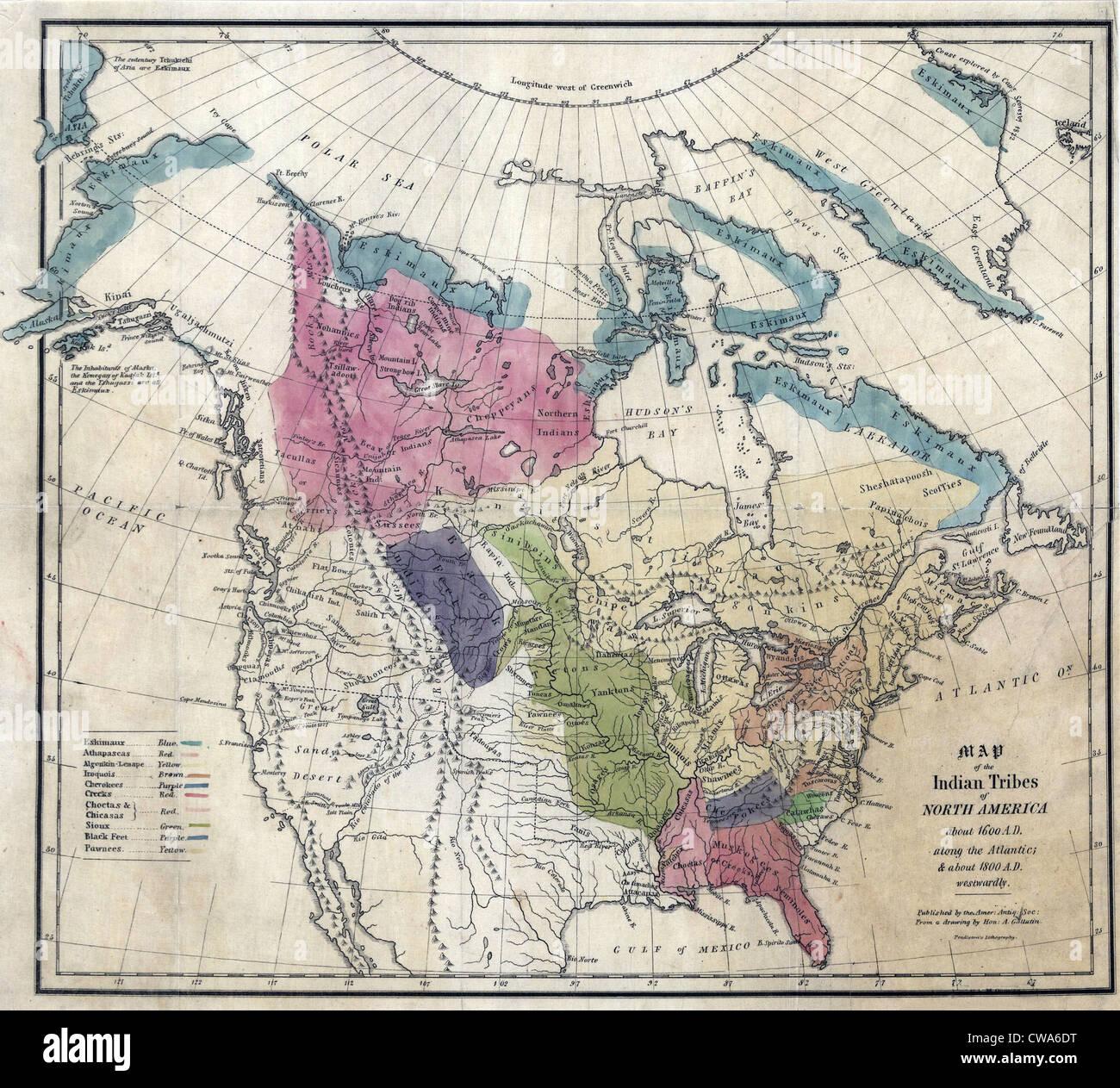 1836 Karte Der Indianerstamme Nordamerikas Etwa 1600 N Chr