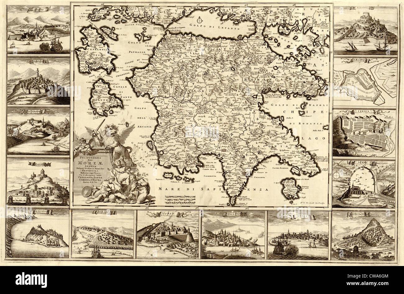 Peloponnes Karte.1688 Karte Der Halbinsel Peloponnes Von Südgriechenland