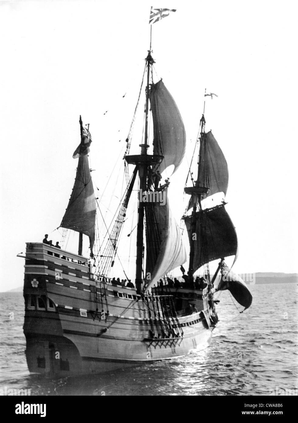 Mayflower II, Plymouth Harbor, Plymouth, England, 1957. Höflichkeit: CSU Archive / Everett Collection Stockfoto