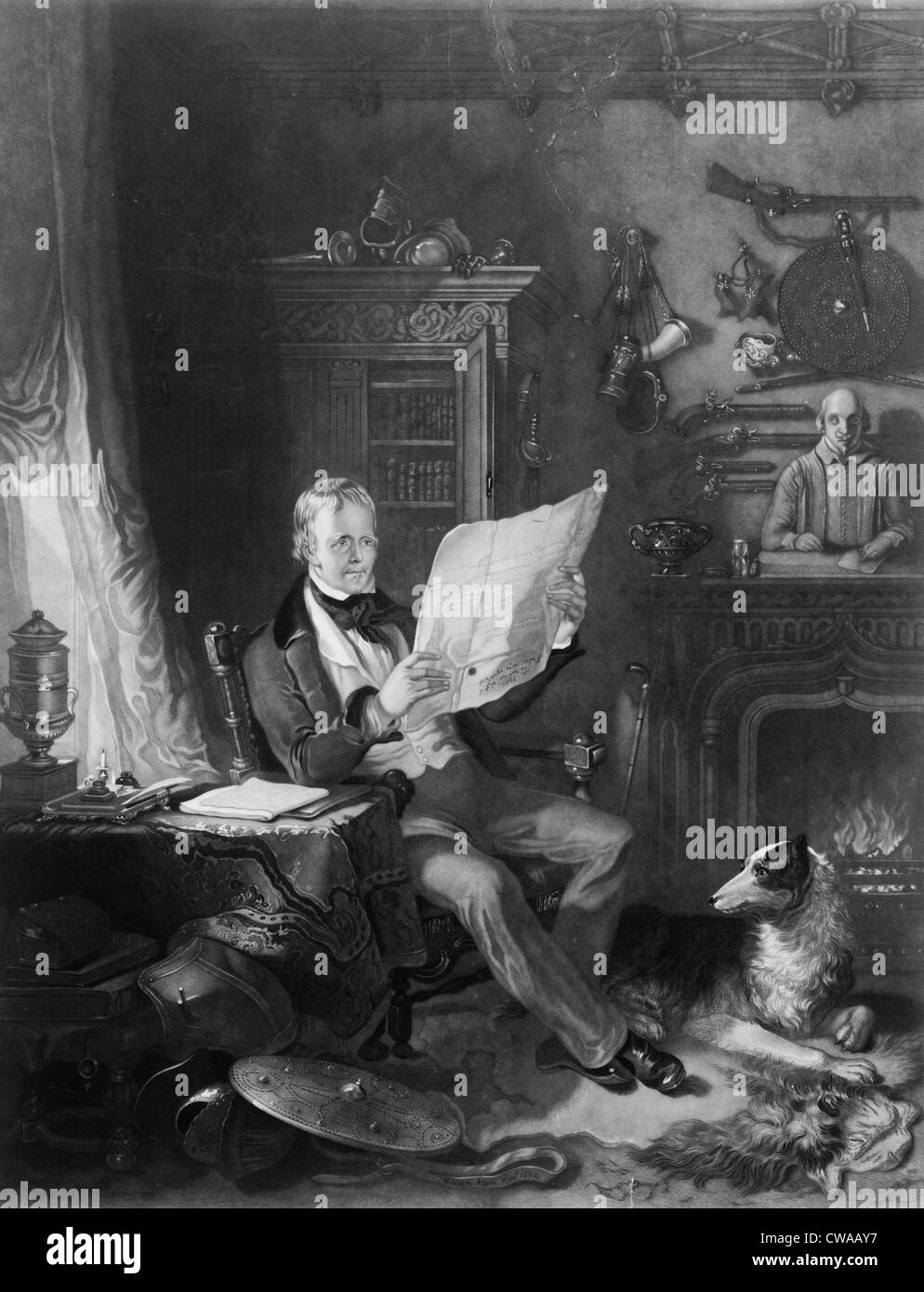 Sir Walter Scott (1771-1832), schottischer Schriftsteller in seinem Arbeitszimmer in Abbotsford, umgeben von historischen Stockbild