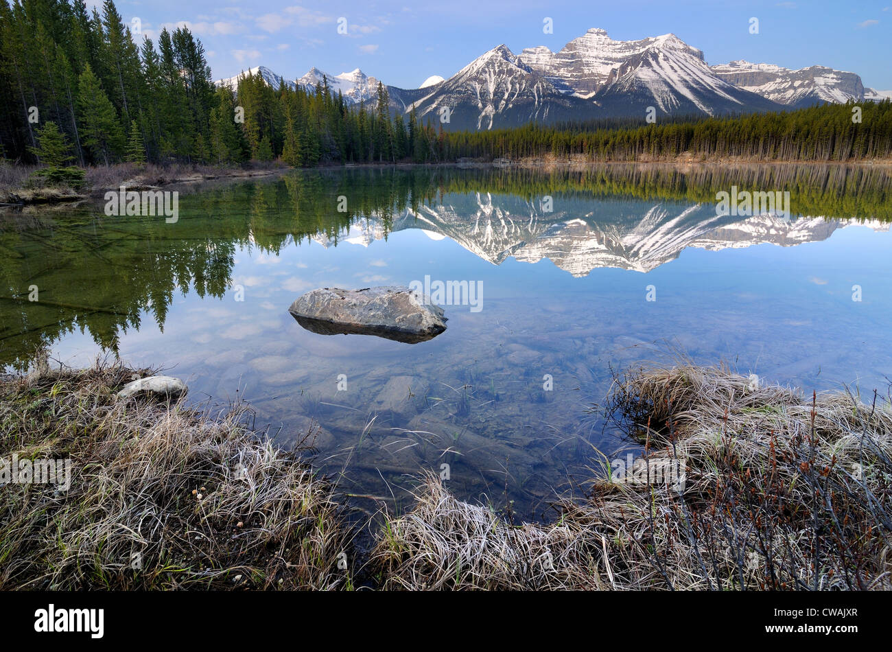 Herbert See und Bogen Reichweite, Banff Nationalpark, Alberta, Kanada Stockbild