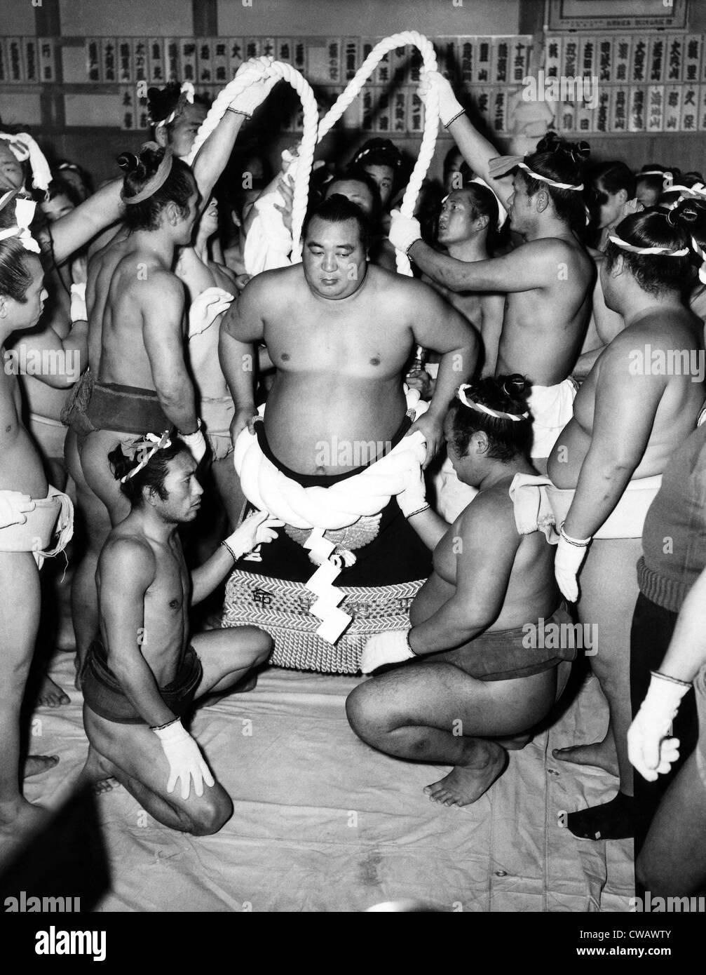 Sumo-Ringer in Japan. ca der 1950er Jahre. Höflichkeit: CSU Archive/Everett Collection. Stockbild