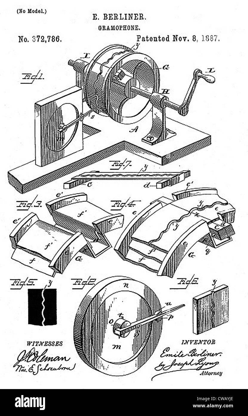 Frühe Aufnahme-Gerät: der Berliner Gramophone patent Diagramm, 1887 ...