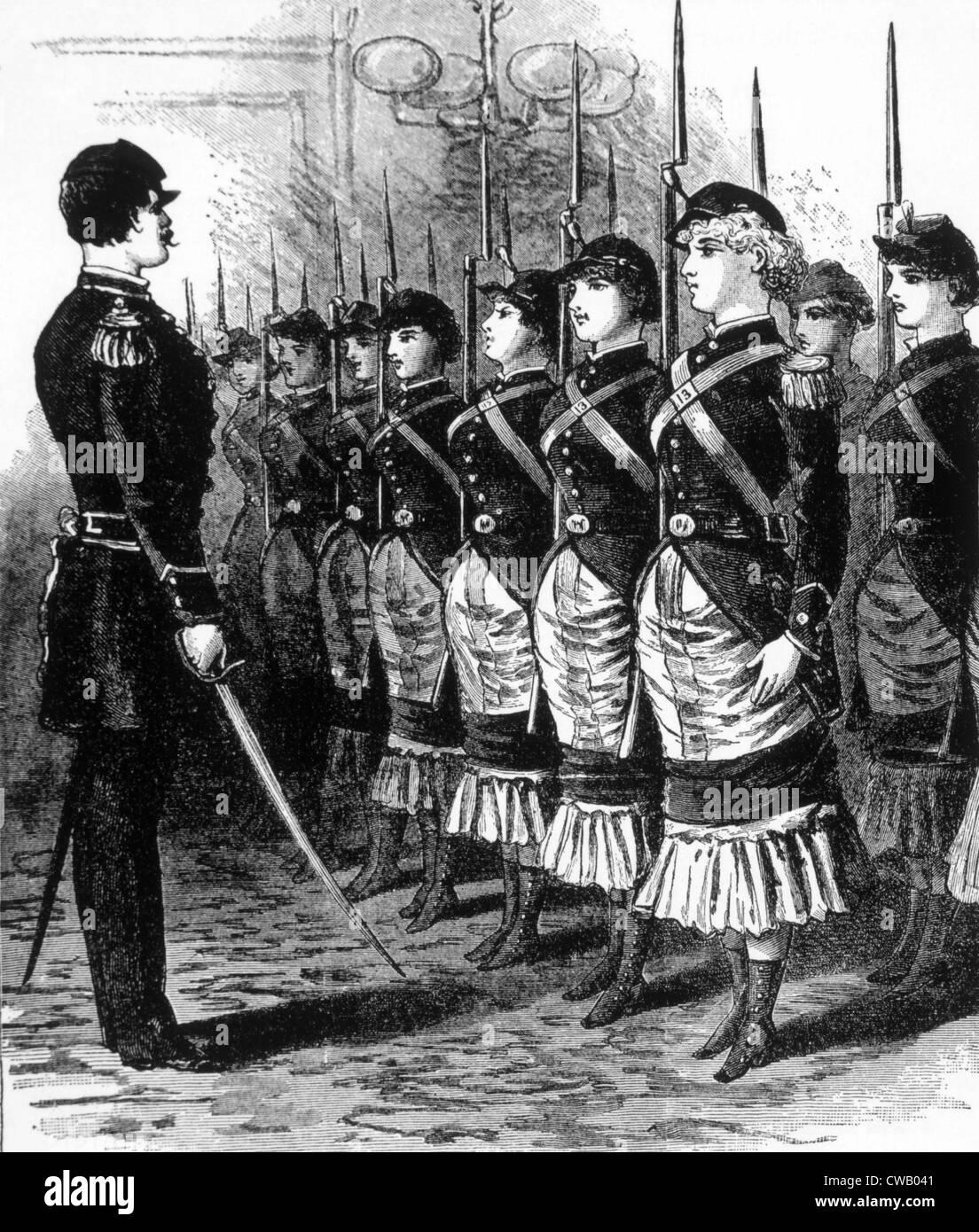 """Die weibliche Rechte Musketiere, Darstellung in """"The Police Gazette"""", c. 1846. Stockbild"""