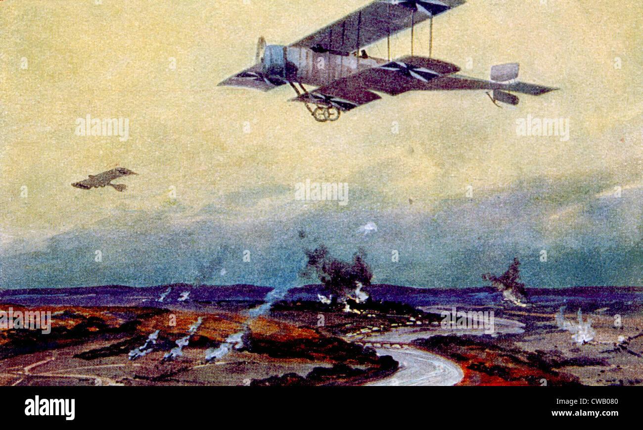 Ersten Weltkrieg, deutsche Doppeldecker auf Aufklärung über die Marne, Gemälde von Hans Rudolf Schulze Stockfoto