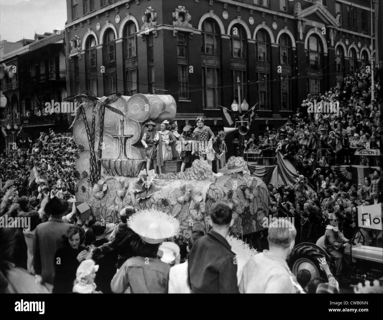 LOUISIANA-Territorium, Karneval in New Orleans, 1953 Stockbild