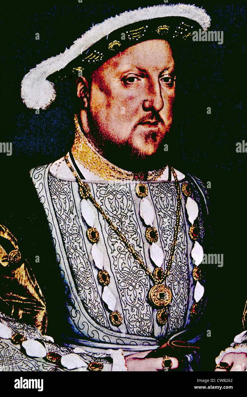König Henry VIII (1491-1547), König von England und Irland von 1509 bis zu seinem Tod. Porträt von Hans Holbein dem jüngeren, Stockfoto