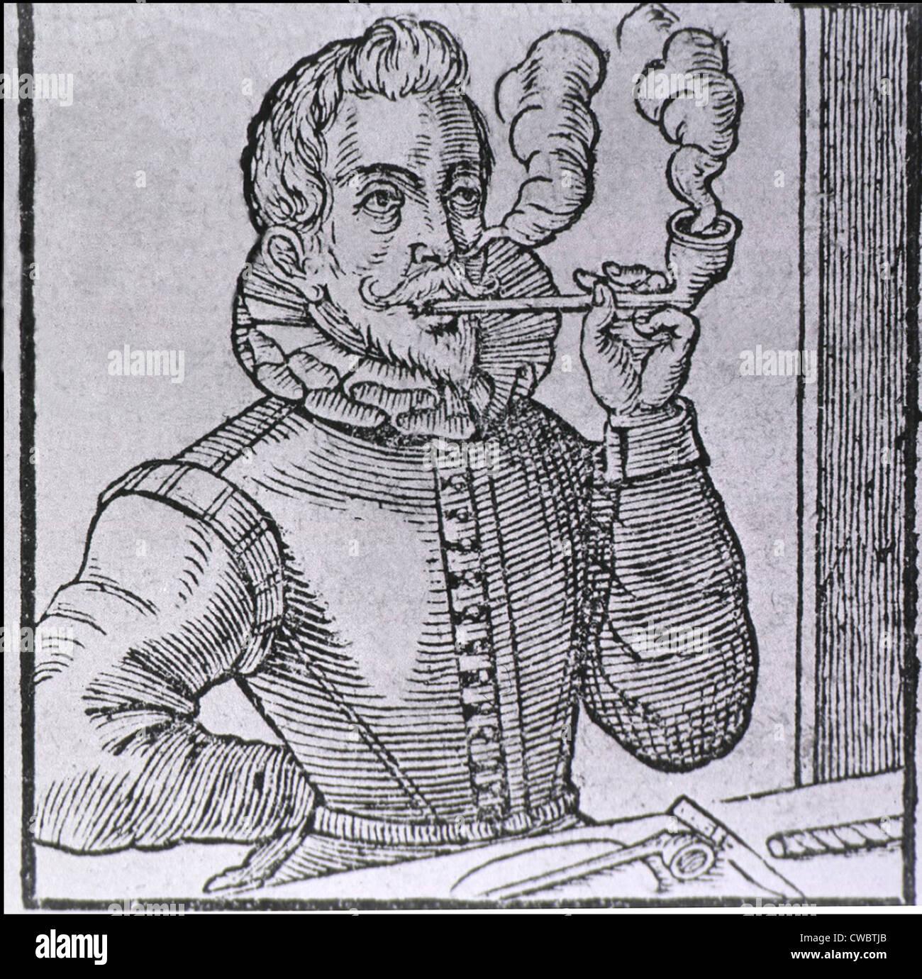 16. Jahrhundert Holländer raucht eine langstielige Pfeife mit einem weiteren Rohr und Roll von Tabak auf dem Stockbild