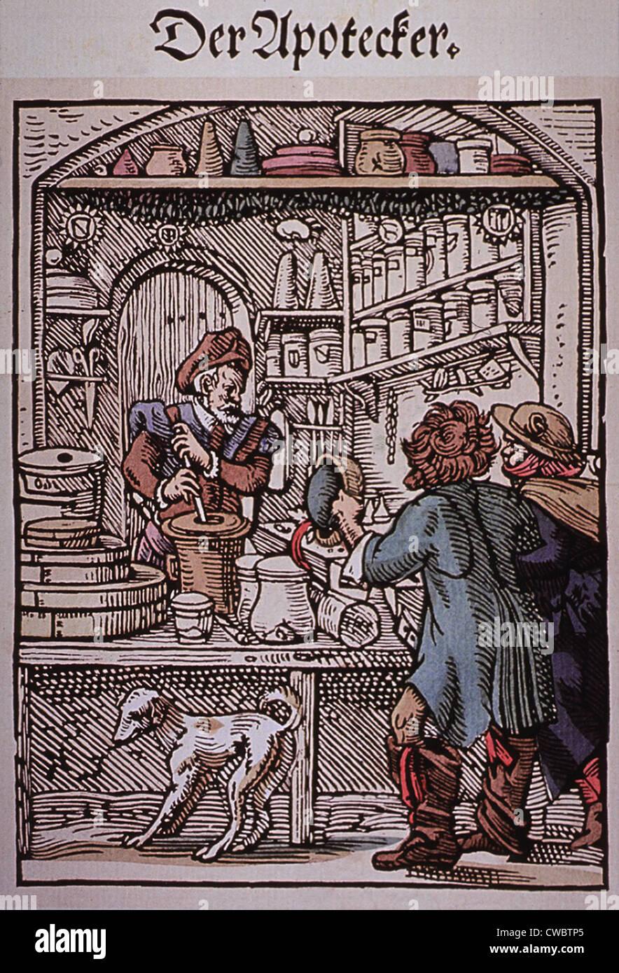 Der Apotheker.  Zwei Männer nähern eine Apotheke, der Apotheker Medikamente macht. 16. Jahrhundert deutsche Stockbild