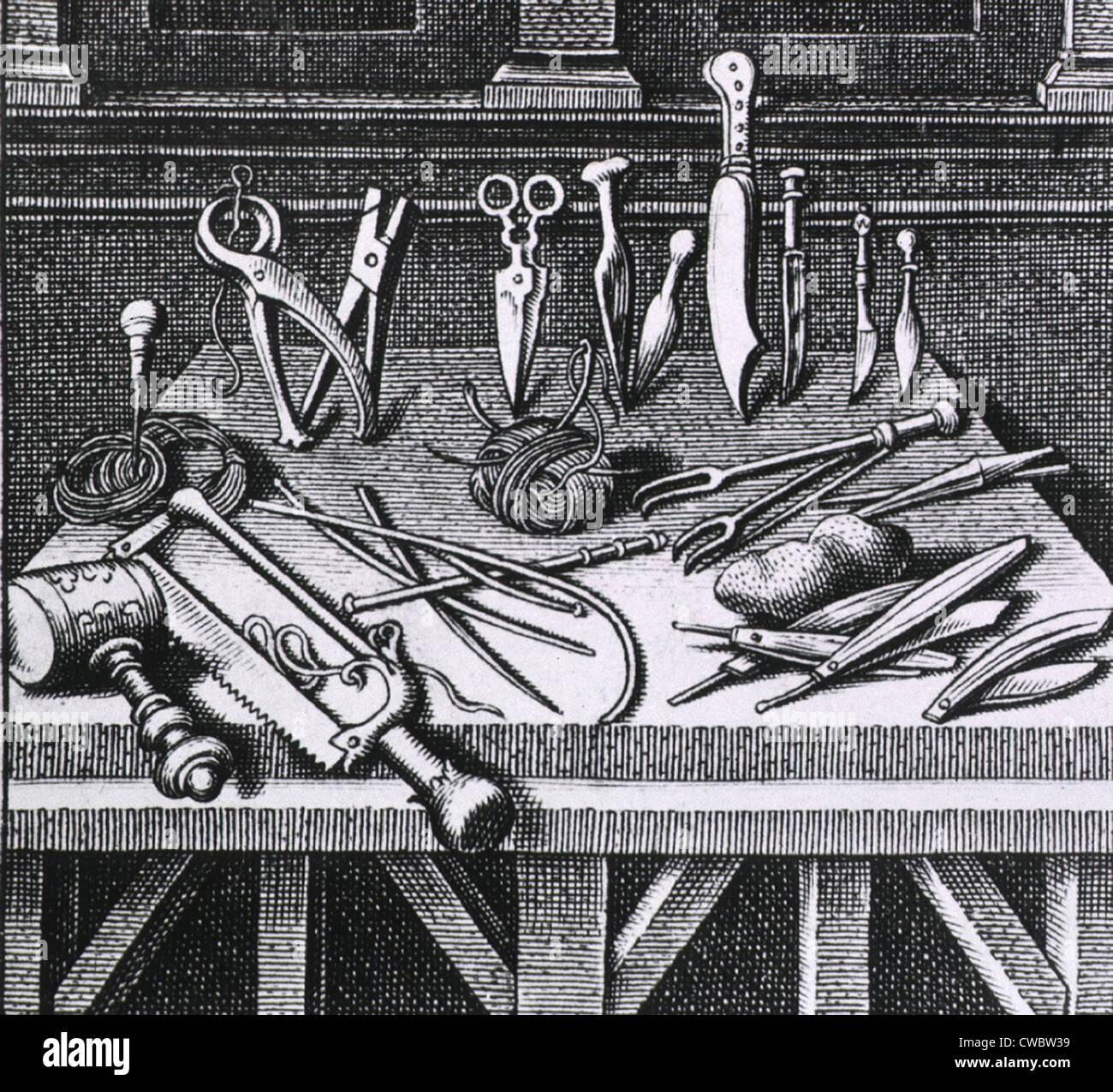 16. Jahrhundert chirurgische Geräte und Instrumente, die auf einem Tisch angeordnet. Von Ambroise Pare, DIX Stockbild
