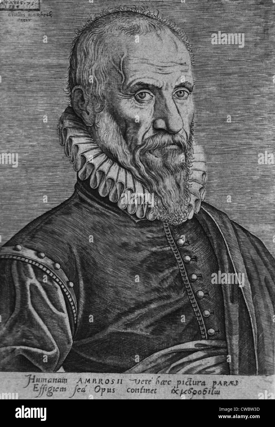 Ambroise Pare, der Chirurg große 16. Jahrhundert entwickelten Operationstechniken, erfundene Instrumente für Stockbild