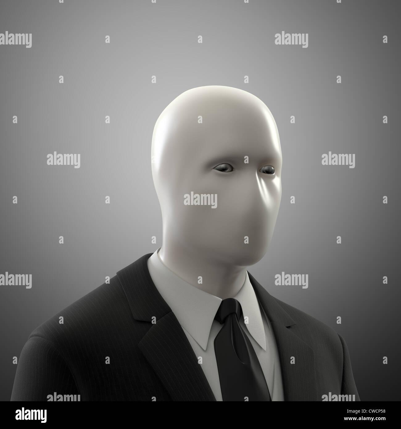 Abstrahierte männliche Figur ohne ein Gesicht in einem Anzug Stockbild