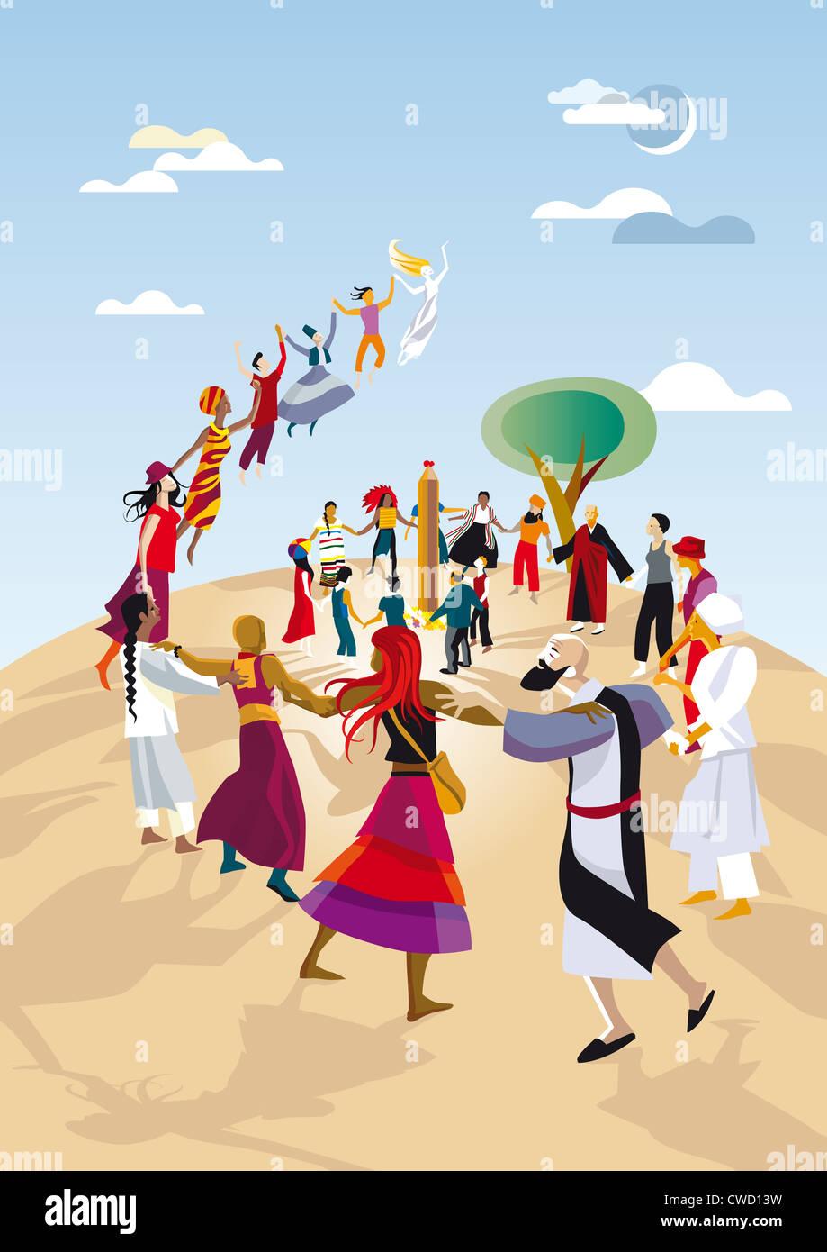 Eine Gruppe von Praktikern verschiedener Religionen machen Sie einen Kreis und verbinden ihre Hände in einer Stockbild