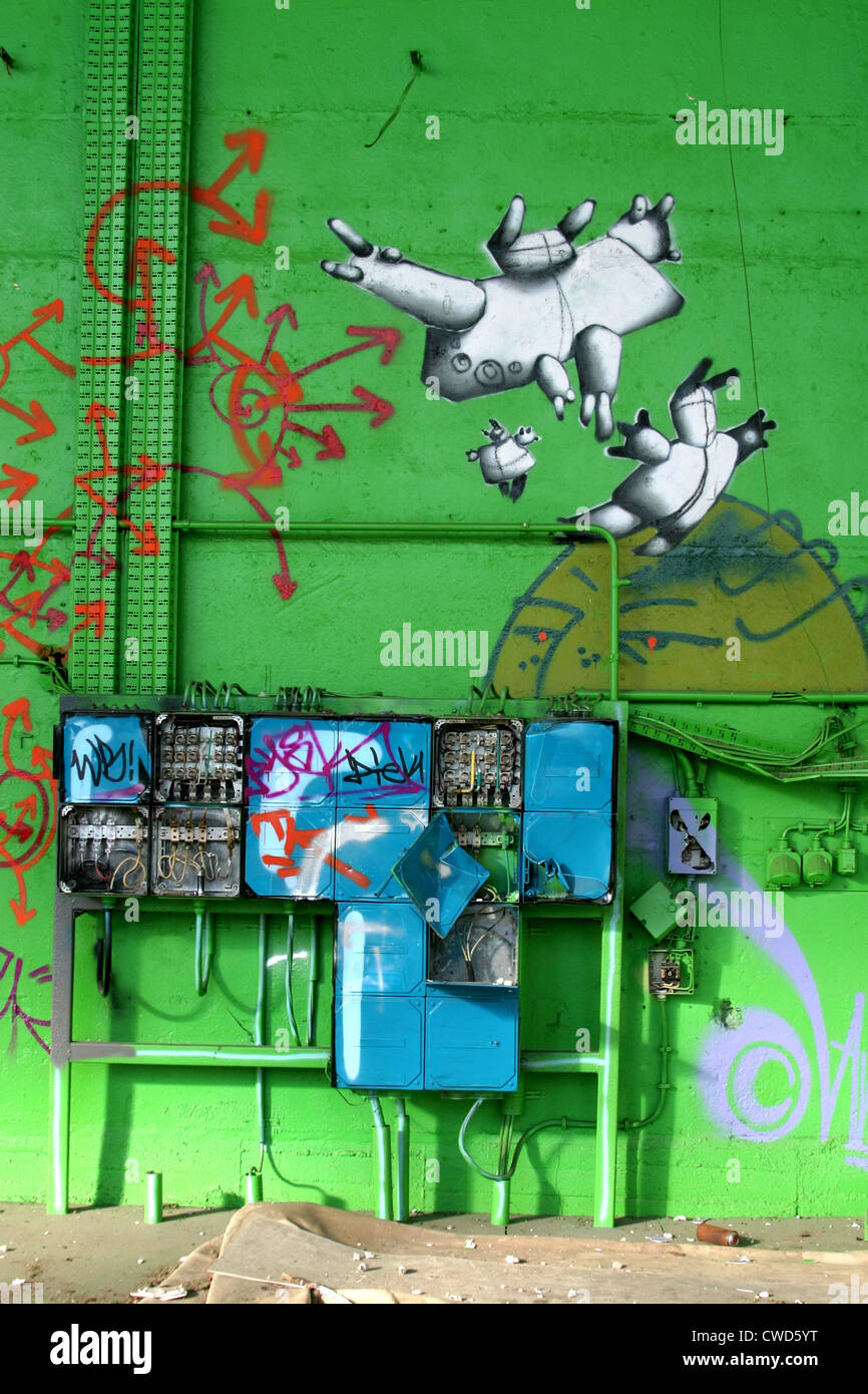Graffiti, street-art Stockbild