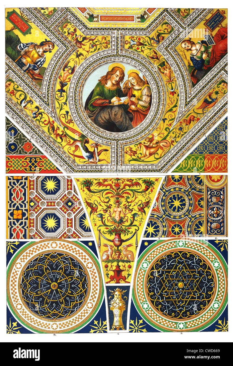 Italienische Renaissance bemalte Decke Stockbild