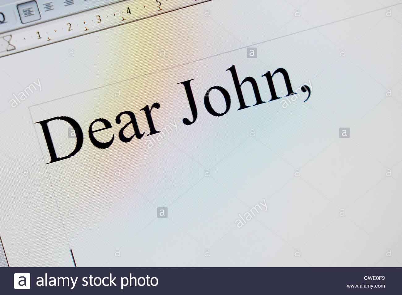 Dear John Letter Stockbild