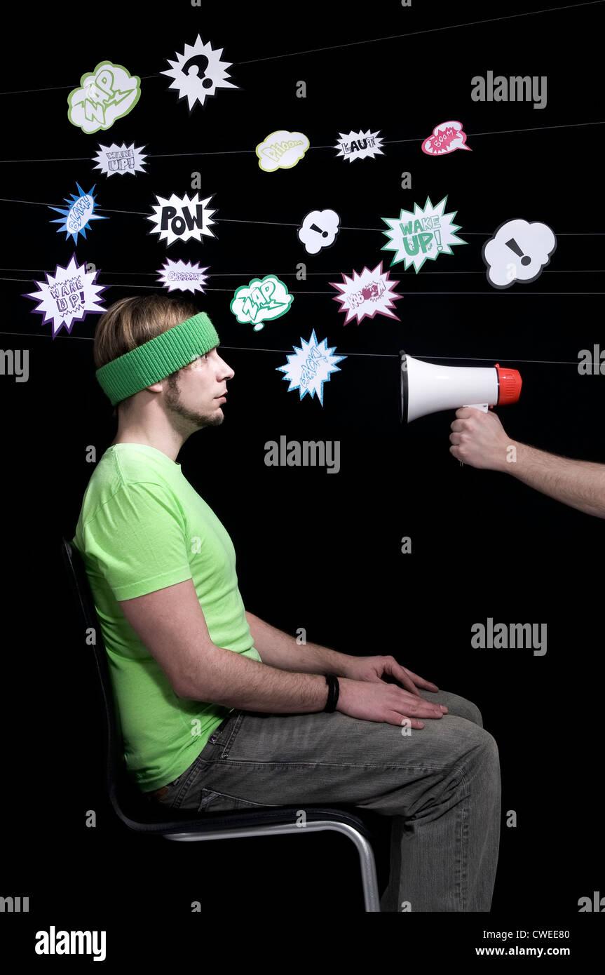 Humor, bizarre, Stress, Kampf, Sprechblase Stockbild