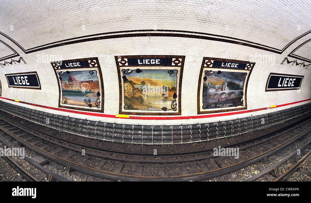 Paris Frankreich Liege U Bahn Station Keramische Fliesen