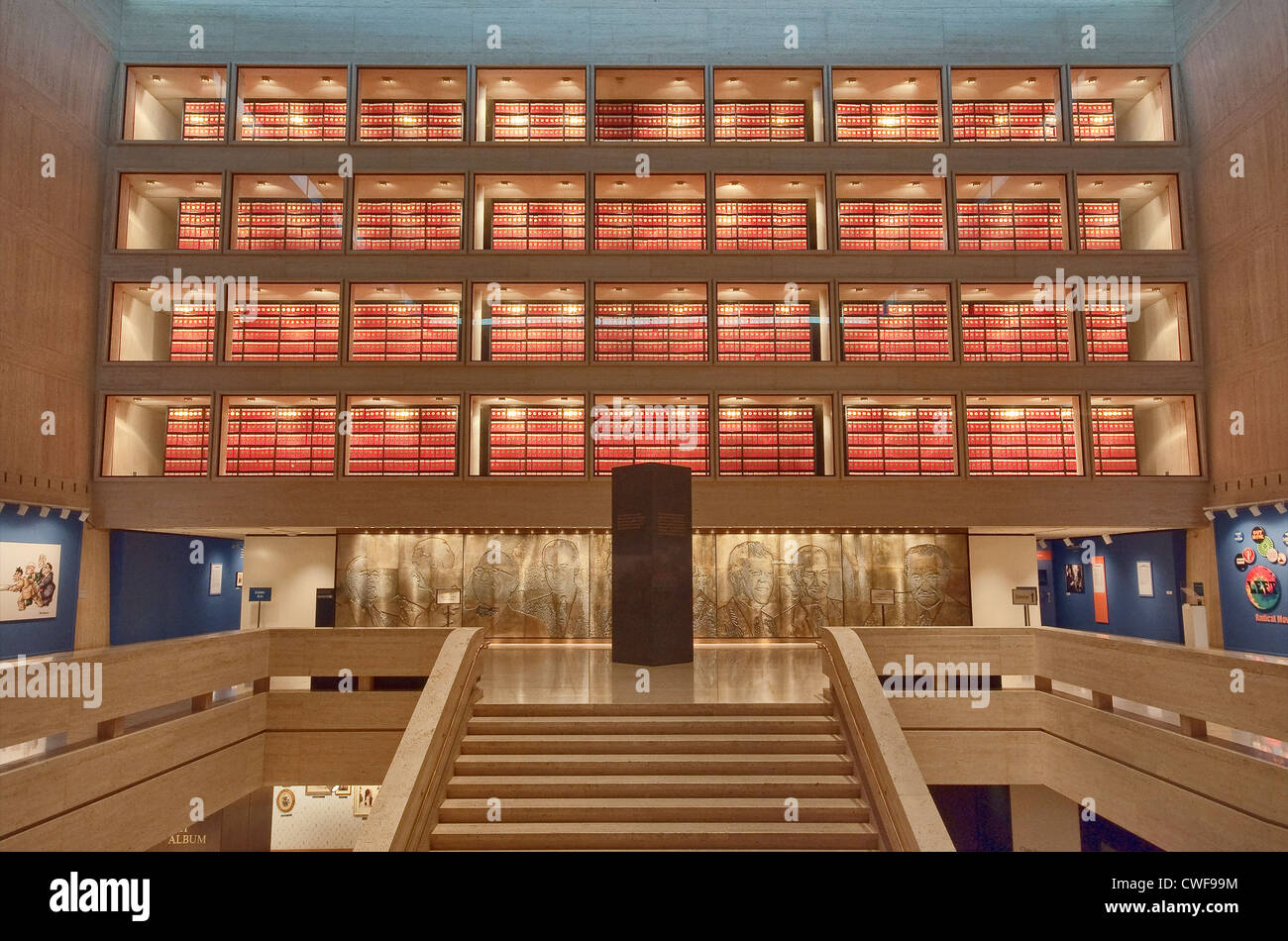 Archiv Abschnitt über Burgsaal Lyndon Baines Johnson Library and Museum (LBJ Library) in Austin, Texas, USA Stockbild