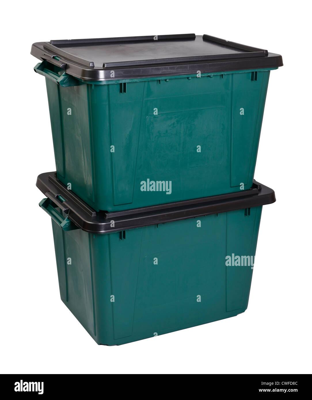 Zwei grüne Kunststoff Aufbewahrungsboxen Stockbild