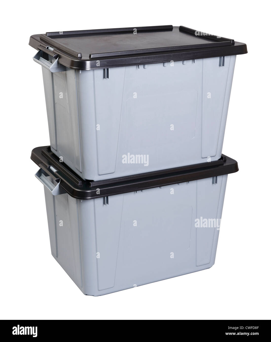 Zwei graue Kunststoff Aufbewahrungsboxen Stockbild