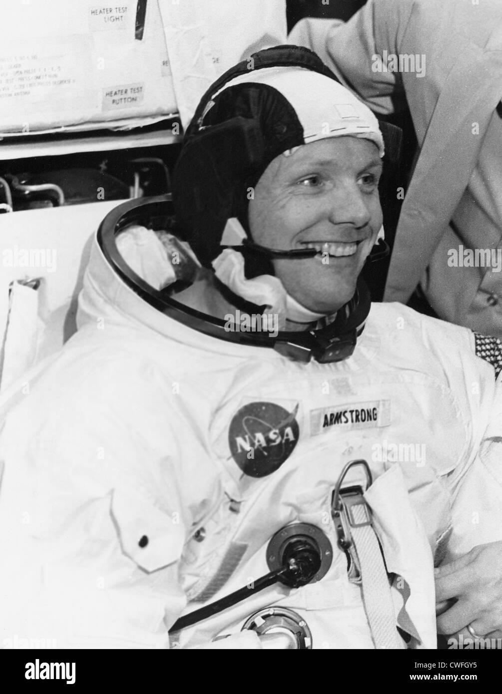 NASA Astronaut Neil Armstrong, Apollo 11 Kommandant, 18. April 1969 bemannte Raumfahrzeuge Center, Houston, TX. Stockfoto