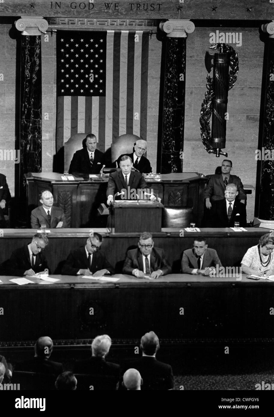 NASA Astronaut Neil Armstrong befasst sich mit eine gemeinsamen Sitzung des Kongresses 16. September 1969 in Washington, DC Stockfoto