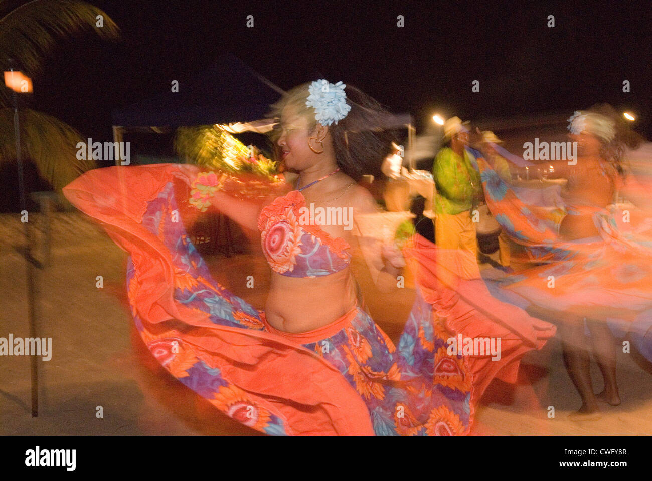Folklore-Gruppe in Mauritius Stockbild